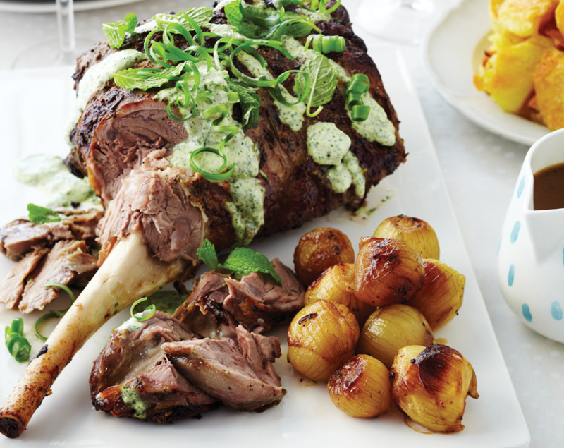 MARINATED ROAST LAMB WITH FRESH MINT TOPPING