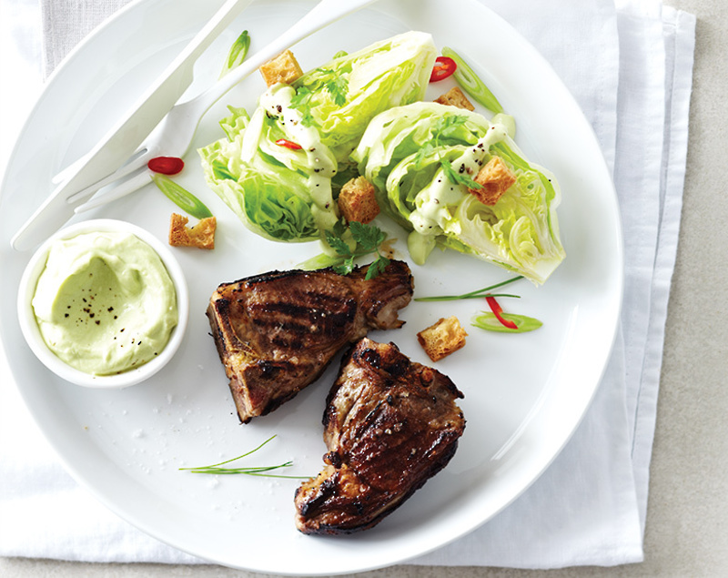 LAMB CHOPS WITH ICEBERG LETTUCE & AVOCADO DRESSING