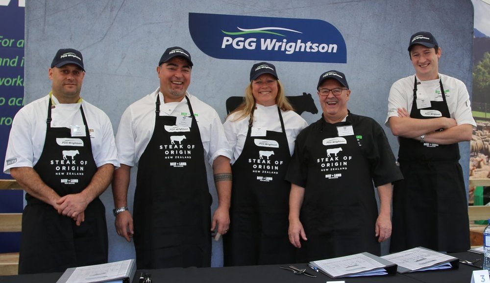 2018 PGG Wrightson Steak of Origin competition judges; Mat McLean, Palate Restaurant, Hamilton, Harry Williams, Alpha Street Kitchen and Bar, Cambridge, Gretchen Binns, Ultimate Steak Connoisseur, Graham Hawkes, Paddington Arms, Invercargill, Andrew Clarke, Victoria Street Bistro, Hamilton.