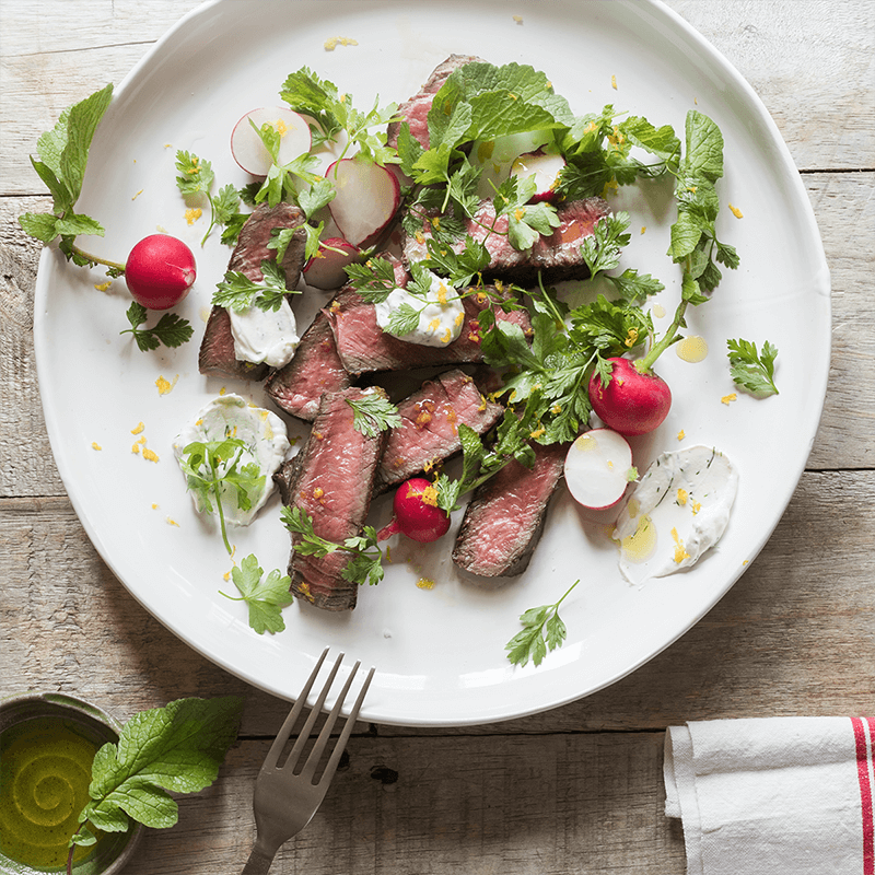 Barbecued scotch with summer herbs and labneh