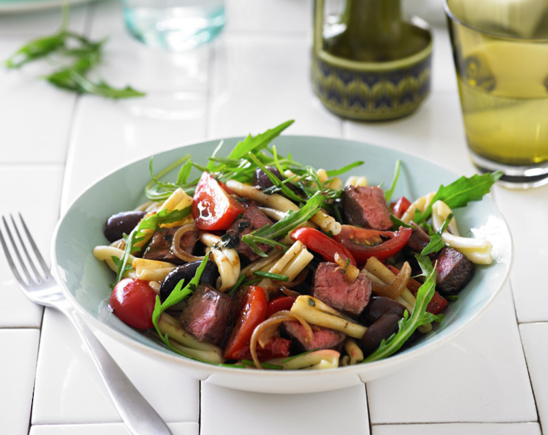 Beef and pasta salad