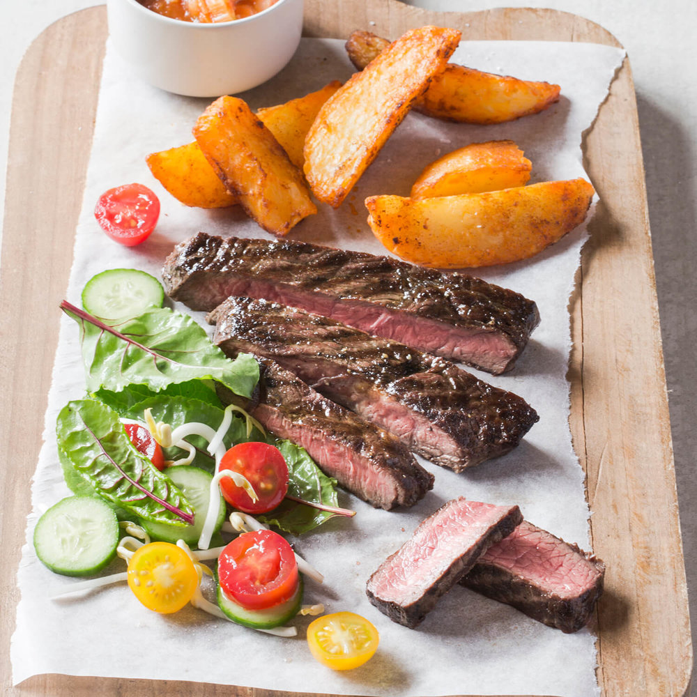 Steak and Wedges with homemade vegetable sauce