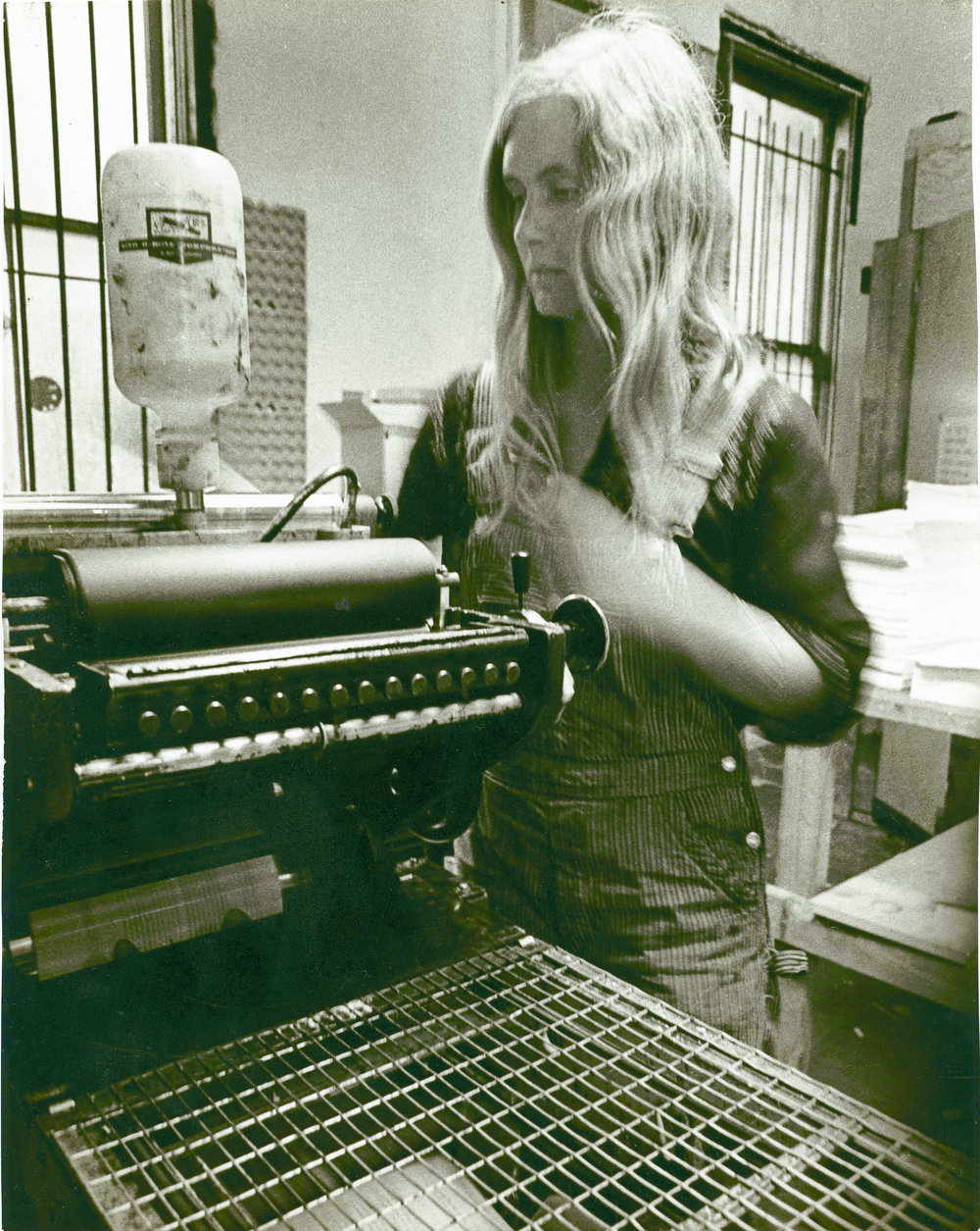 Printing on Multilith 1250, offset, People's Press, San Francisco, California, 1971