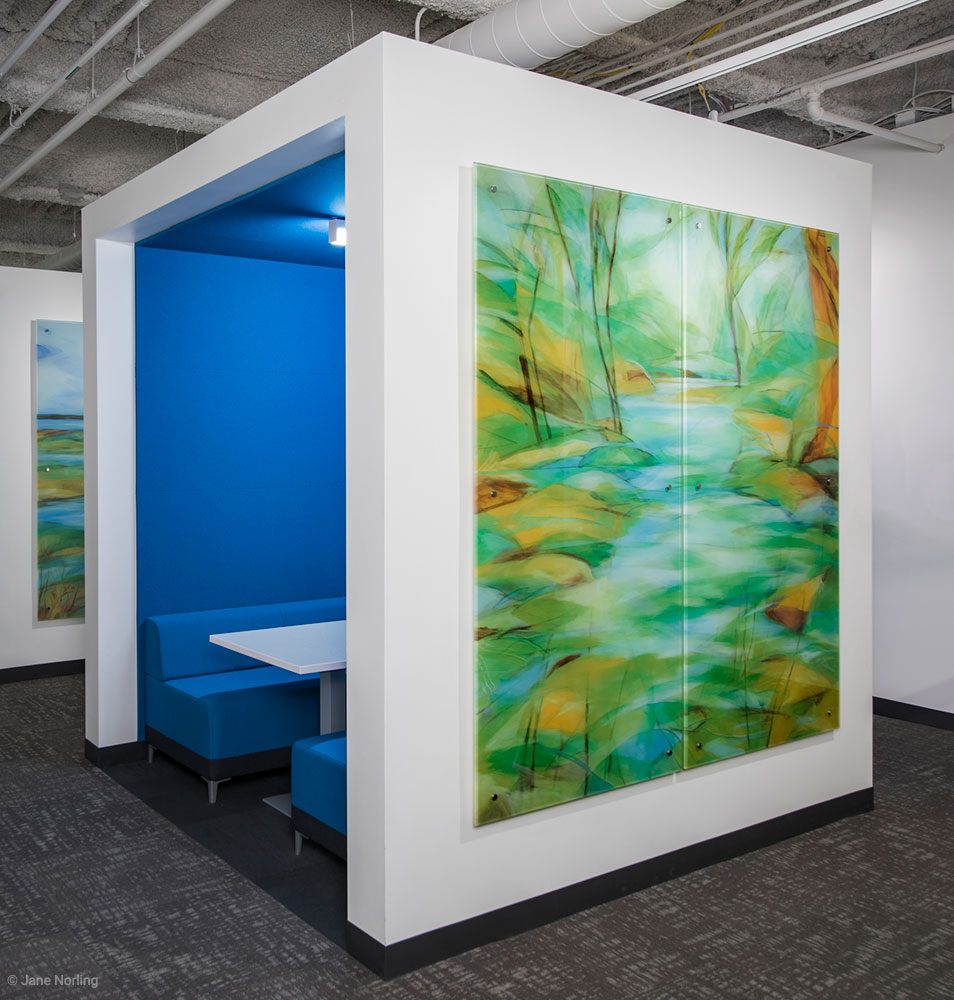 Alameda County Water, Creek , digital ceramic print on glass, 7'x7', 2016.  Location: Social Services Building, 1111 Jackson St, Oakland, CA