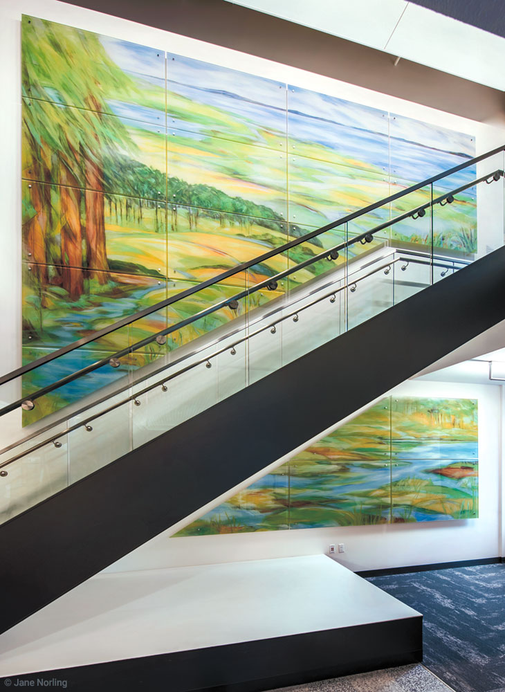Alameda County Water , lobby stairs. Digital ceramic print on glass, 15'x19', 2016.  Location: Social Services Building, 1111 Jackson St, Oakland, CA