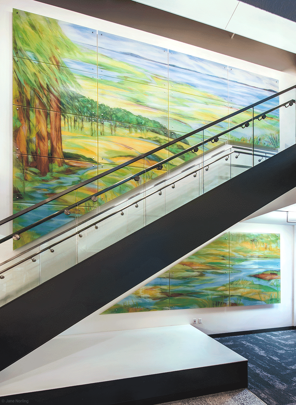 Alameda County Water , Lobby stairs, 15'x19'. Digital ceramic print on glass in six parts. 2016 commission, Alameda County Arts Commission.
