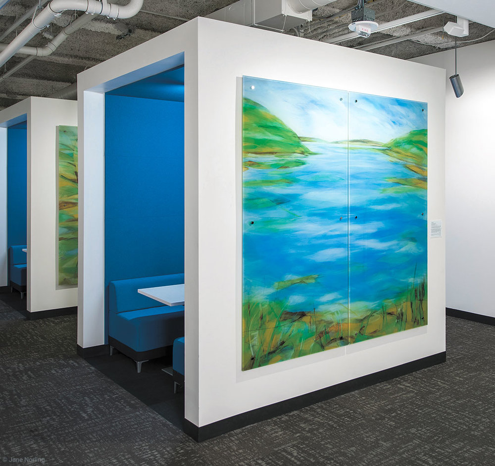 Lake (with Fog, Creek, Estuary) , Second floor, 7'x7, digital ceramic print on glass in six parts. 2016 commission, Alameda County Arts Commission.