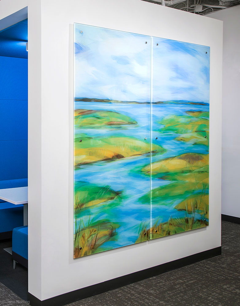 Estuary (with Lake, Fog, Creek) , Second floor, 7'x7, digital ceramic print on glass in six parts. 2016 commission, Alameda County Arts Commission.