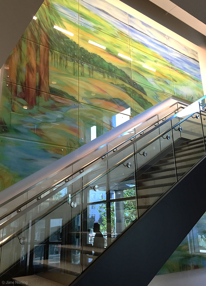 Alameda County Water , Lobby stairs, 15'x19', digital ceramic print on glass in six parts. 2016 commission, Alameda County Arts Commission.