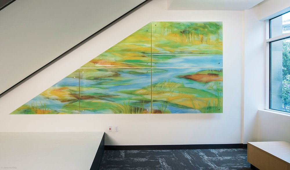Alameda County Water , Lobby alcove, digital ceramic print on glass in six parts. 2016 commission, Alameda County Arts Commission.