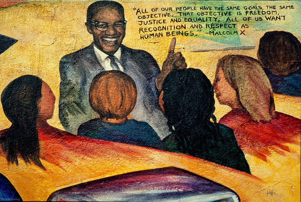 Educate to Liberate , John Adams Community College, corner Masonic & Hayes, San Francisco, California. 400 ft. Haight Ashbury Muralists. Malcolm X teaches.