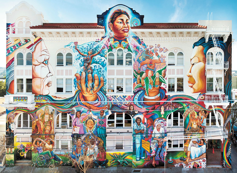 Maestrapeace , Women's Building, corner 18th & Lapidge, San Francisco, California, 1994-2012. Juana Alicia, Edythe Boone, Miranda Bergman, Susan Cervantes, Meera Desai, Yvonne Littleton, Irene Perez, assisted by over 100 women painters, ©1994, All Rights Reserved. Restored in 2000 and 2012, interior murals added in 2010. JN: Detail of Joycelyn Elders (first African-American US Surgeon General, 1994), Lapidge wall, and other detailing.