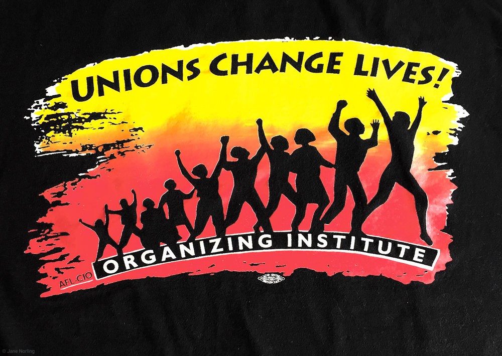 Unions Change Lives , AFL-CIO Organizing Institute, logo & banner, 1995.
