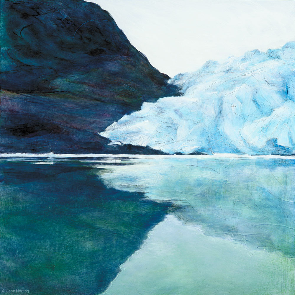 "Patagonia 1/Glaciar Speg , oil and graphite on canvas, 18""x18"", 2010. Series  Glacier   Sold"