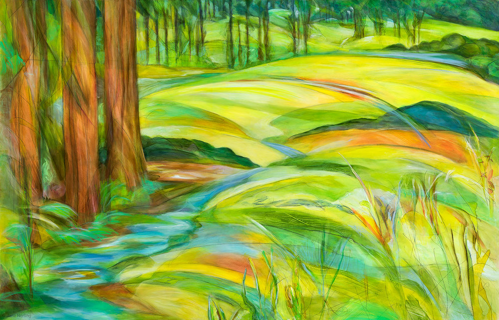 "Alameda County, Redwoods to Creek , oil paint/graphite on panel, 40""x62"", 2016. Series  Alameda County Water , one of eleven paintings created as imagery for Alameda County Water, permanent installation of digital ceramic printing on glass, 1111 Jackson St, Oakland, CA. Sibila Savage Photography  Sold"
