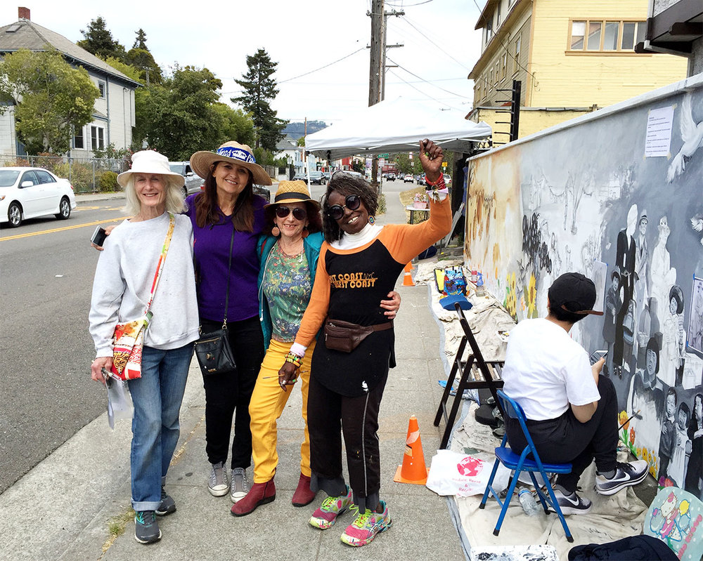 The Invisible Becomes Visible , South Berkeley Community Mural. From left to right: Edythe Boone, director, Miranda Bergman, Tammy Artis, Jane Norling. Painted by local unshelterd residents, neighbors, school children, muralists. Berkeley, California, 2018.