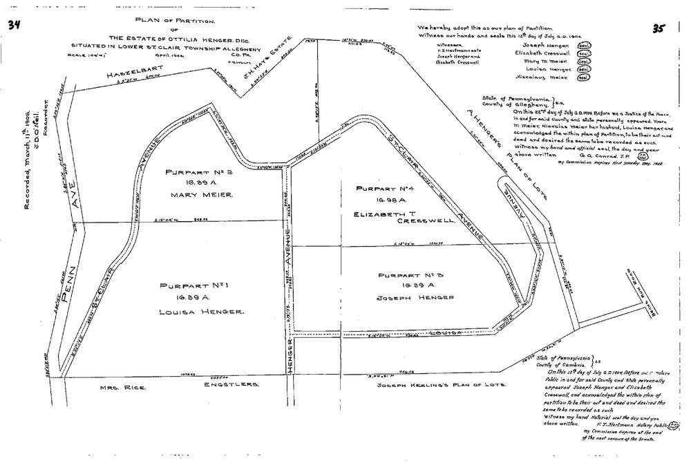 The 1904 Plan of Partitions of the Estate of Ottilia Henger to Mary Meier, Mrs. Rise, the Engstlers, Louisa Henger, Elizabeth Cresswell, Joseph Henger and Joseph Keeling.