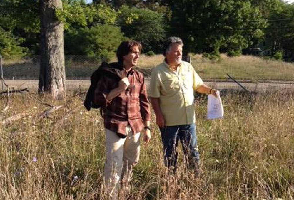 Bernie Lamm and Michael Sands inspect the land during the Master Plan process.
