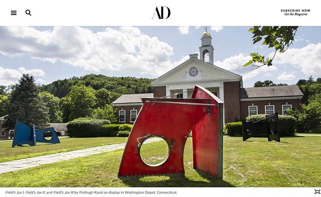 Check out @archdigest article (link in bio) featuring @fitzhughkarol's new installation in Washington Depot, CT. @sculpturewalk2018 @washingtonartassociation Photo: @richpomerantz Story: @elenabowes Fabrication team: @21bdesign