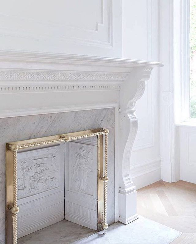 "Thanks for the shout @dustjacket_ ! ""Transforming an unused fireplace into an eye-catching feature...beautiful mouldings, brass, marble, and white oak floors by @brooklynhomecompany via @thecorcorangroup"" #ParkSlope #TBHCo"