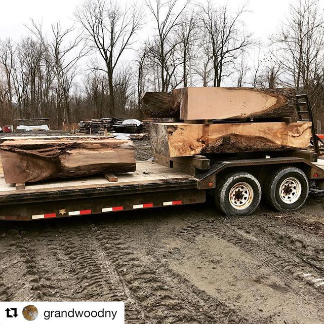 Some exciting developments coming along at the @grandwoodny mill! We have some massive timber consoles on their way to the new kiln. 🔥
