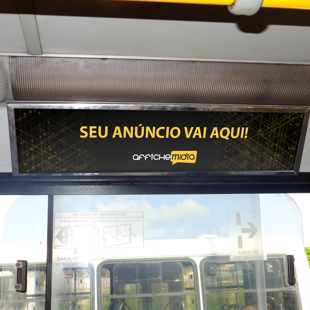 Anúncio dentro do ônibus