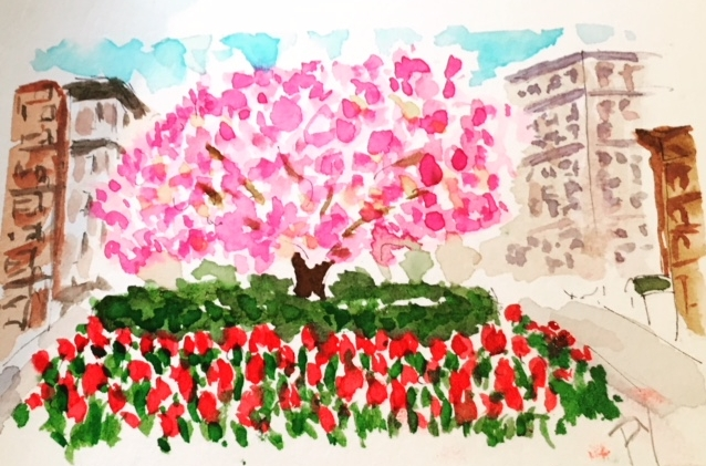 Pixie painted this Tulip Streetscape of Park Avenue and the New York Social Diary featured it in their weekly newsletter. -
