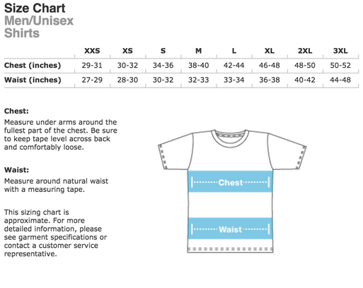 UNISEX T-SHIRT SIZING CHART