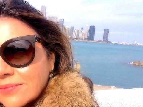 Foto feita por Aureliano Mendes com a vista Lake Michigan, em um dia de inverno, muito frio, mas com muito sol!