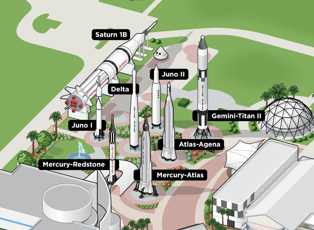 Ilustração e mapa do Jardim de Foguetes, preparados e cedidos pelo   Kennedy Space Center Visitor Complex  .
