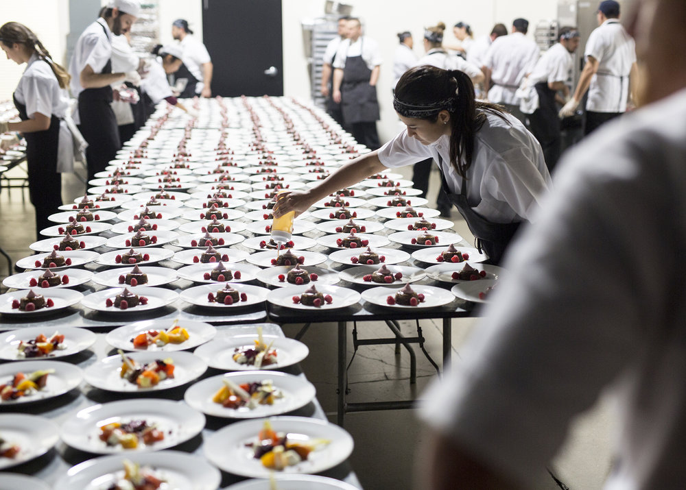 Chef Tentori's team puts the finishing touches on the dessert for RJO 2017. (Photo: Marcin Cymmer)