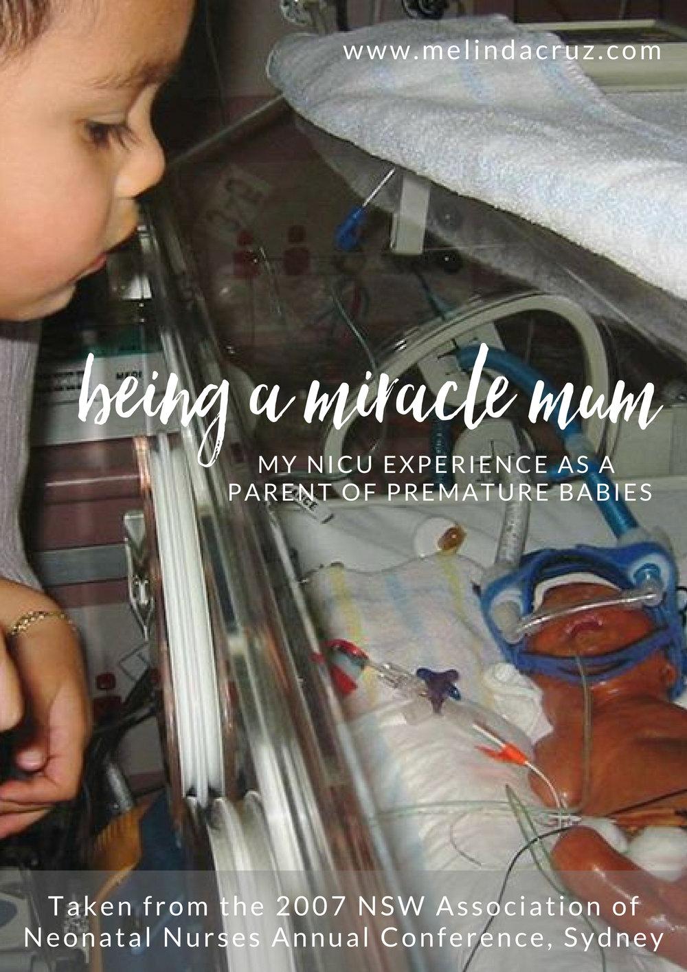 Melinda Cruz being a miracle mum