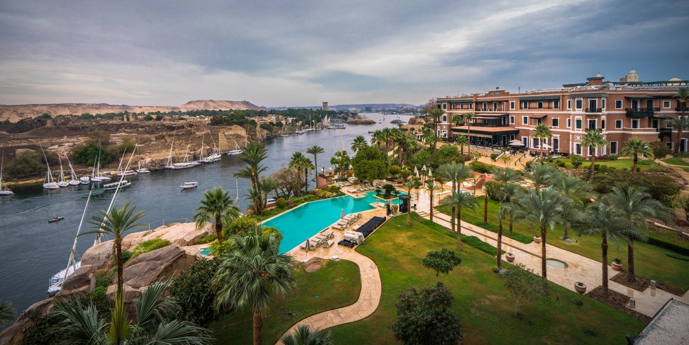 Outside the amazing and historic hotel known as the Old Cataract in Aswan overlooking the Nile River