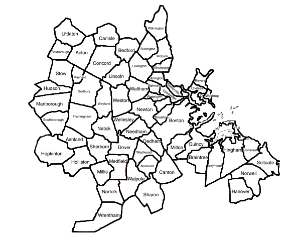 Greater Boston Map Towns.Region Iv Cities And Towns Mbemsc
