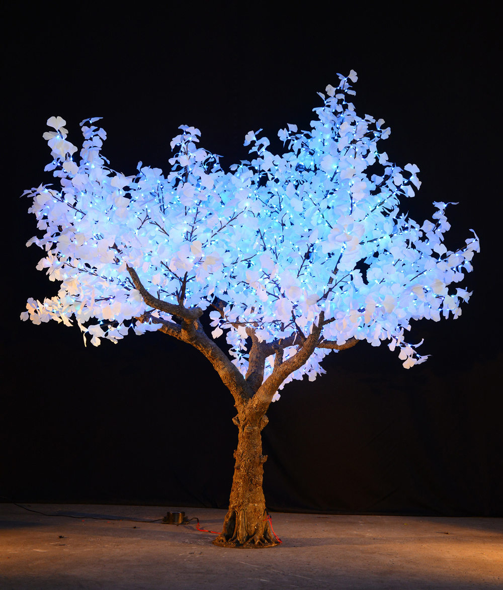 LED Gingko TREES   Our LED Gingko trees make a stunning splash on your venue.  These trees are available only in remote controlled color changing.  You can choose between 8 colors including: blue, green, red, yellow, pure white, cyan, purple and multi color.  These gingko trees sparkle and are one of a kind.