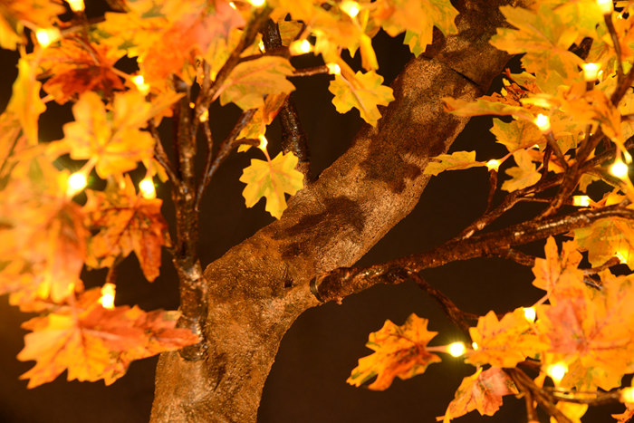 Complementary to soft lighting, the Autumn Maple Light Tree helps create a warm, inviting atmosphere.It's particularly ideal for the home, as well as shop merchandising, interior styling and rustic, seasonal events.