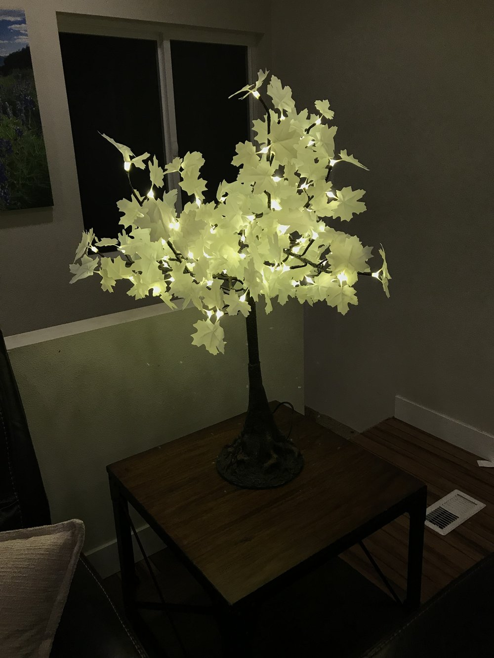2.5ft TableTop   Tabletop trees compliment flowers and candles or can easily stand alone for a stunning table display. They are perfect for weddings, corporate events and special dinner occasions. These trees are beautifully designed with bendable branches and measure 2.5 feet in height and 2.5 feet in width and have 100 LEDs.  These trees use x aa batteries (included in rental price). The lights will begin to dim after 6-8 hours of operation.  (please note: there is a minimum order so mini trees are typically rented as part of a larger rental.)    Available in Warm White Only!     Rental price: $50 Each
