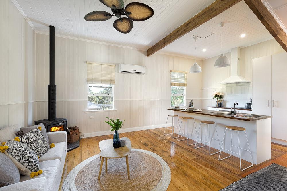 living kitchen fireplace