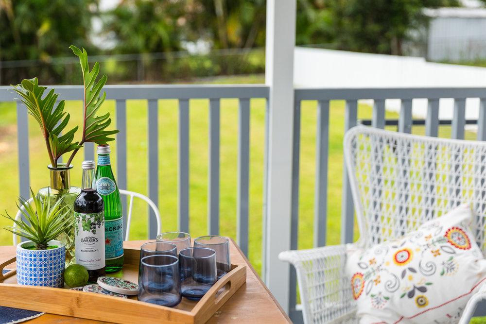drinks tray on balcony