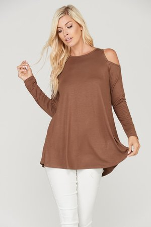 5707e6270ed82 Solid Color Long Sleeve Cold Shoulder Tunic Top ...
