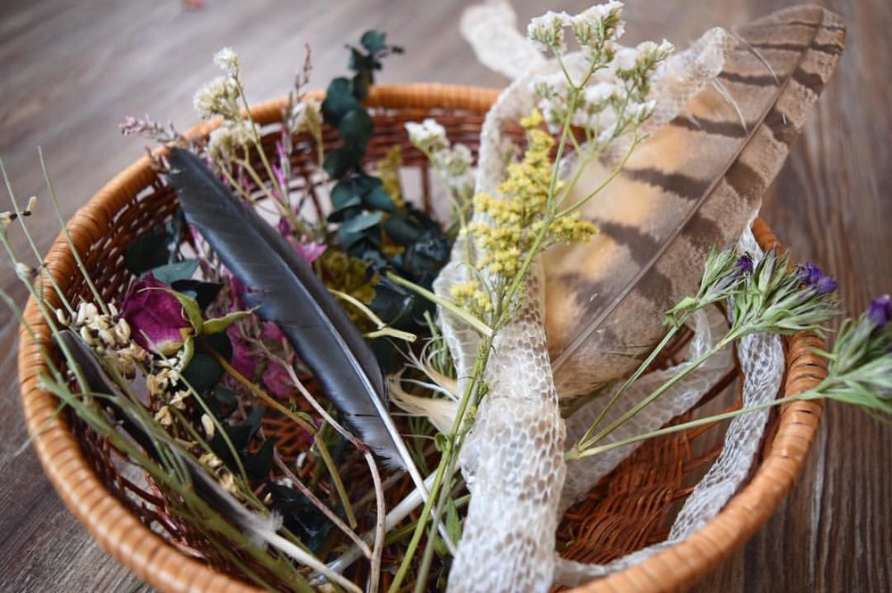 Standard Art Supplies: Snake Skin, Feathers, Wildharvested and Recycled Flowers and Herbs.