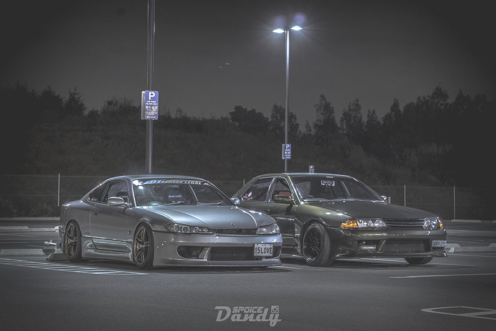 Left-Right: Taylor's S15 Silvia, Joey's R32 Sedan