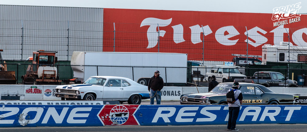 Some of the oldschool muscle lining up on the dragstrip.