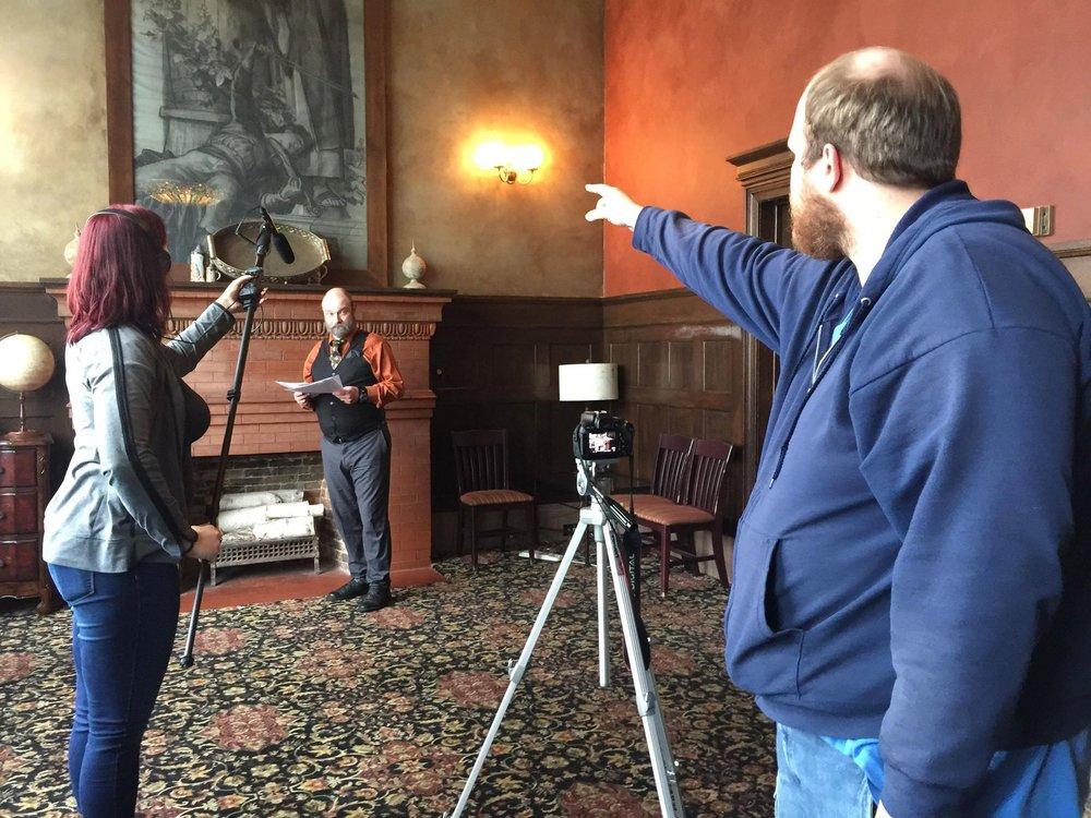 From left: Marin Molander, David Aldridge (Nathaniel Johnson), and Samuel T Weston giving direction behind the camera.