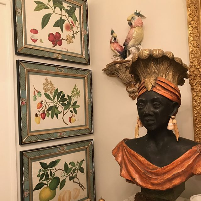 This week we framed and hung several antique botanical prints. We went to great lengths to select frames of an appropriate color and vintage...But nothing compliments the artwork more than a few ceramic parrots. #fineart #framing #arthandling #installation #parrots #cacaw