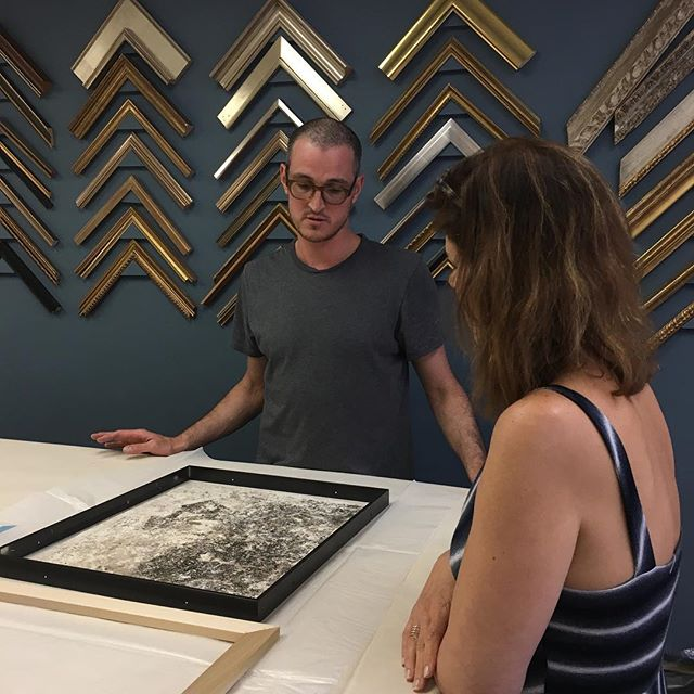 @davislooksee drops in to pick the perfect frame for the @themuseumofmodernart staff show #fineart #archivalframing #arthandling #moma #he's #single