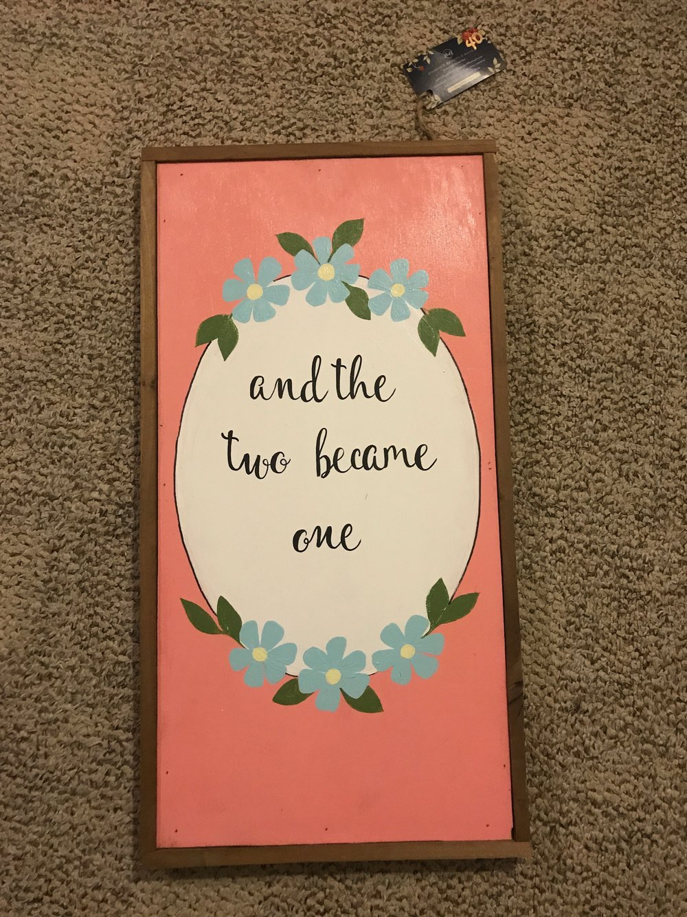 $15 BRAND NEW beautiful wooden painting  - the perfect wedding giftRETAIL: $40