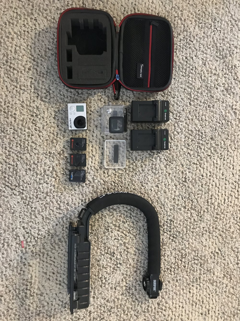 $200 GREAT CONDITION: GoPro hero 3  - with protective carrying case, 3 batteries, 2 external battery chargers and skate gripRETAIL: $325