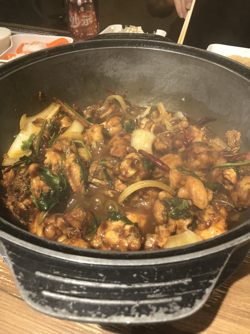 A special spicy chicken hot pot -