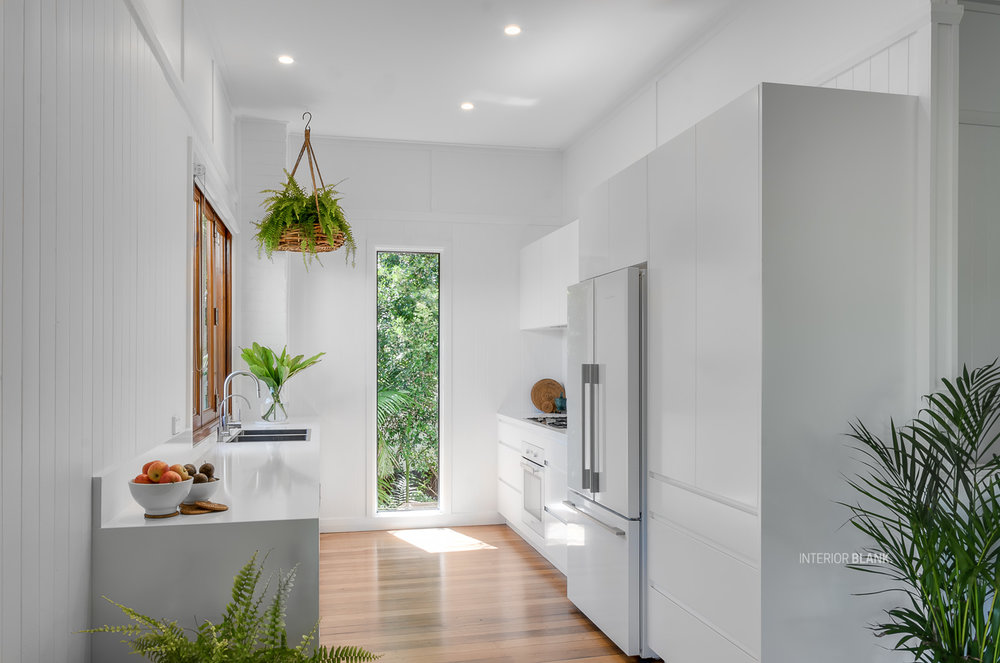 Kitchen renovations Bangalow_White satin 2pac cabinets_fingerpull handles_Quantum Quartz Stone benchtops_VJ wall Panelling_white kitchens